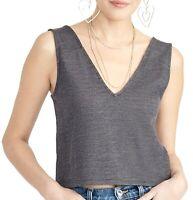 Rachel Rachel Roy Women's Crop Top Gray Blue Size Large L V-Neck $59 #628