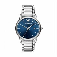 Emporio Armani Mens Gents Watch Silver Stainless Steel Strap Blue Dial AR11089