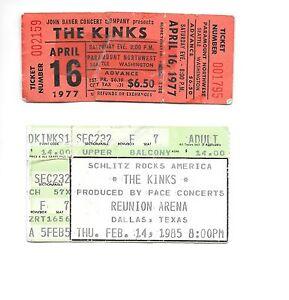 The Kinks ticket stubs 04/16/1977 Seattle Paramount 02/14/85 Reunion Arena Texas