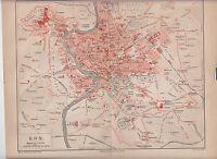 1890 ITALY ITALIA ROME ROMA City Plan  Antique Map