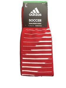 New adidas Team Speed 2 Soccer Socks Men's Red/White/Gray