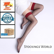 Hold Ups Stockings Black with Red Top - Size Medium/Large NEW UK!!