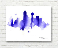"Dallas Skyline Watercolor Painting 11"" x 14"" Art Print by Artist DJ Rogers"