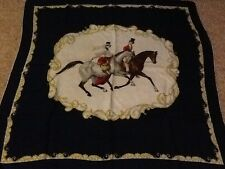 Vintage equestrian horse riding large 1940s silk scarf