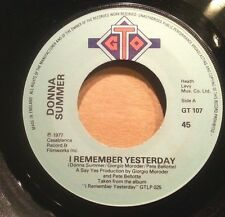 DONNA SUMMER 45RPM I REMEMBER YESTERDAY  FREE POST IN AUSTRALIA
