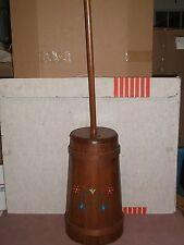 VINTAGE WOOD BUTTER CHURN & DASHER w/ PAINTED FLOWERS DECOR