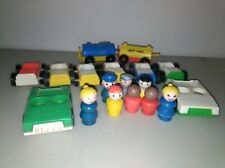 Vintage Fisher Price Little People Garage Cars Lot Vehicles People gas train