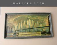 MID CENTURY MODERN NY CITYSCAPE HAND GLOSSED VTG PRINT! ART MANHATTAN PENTHOUSE