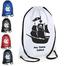 PERSONALISED Drawstring Gym Bag PIRATE SHIP School PE Kit Sport Tidy Boys Girls