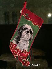 Shih Tzu Dog Needlepoint Christmas Stocking NWT