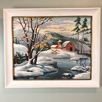 Paint By Number Snow Scene Farm Barn Woods Vintage MCM Framed Winter Mountains