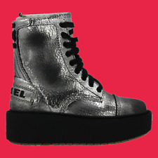 DIESEL D-Cage HB Womens Fashion High Top Sneaker Silver Size 6