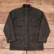"""Mens Vintage Eddie Bauer 1990s Green Wax Cotton Field Jacket Medium 40"""" XR 8530"""