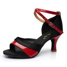 Latin Dance Shoes High Heel 7cm-Black & Red,Black & Gold,8.5 E6U4