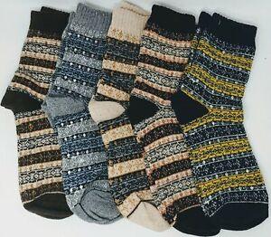 5 Pack Men's Vintage Warm Wool Fall Winter Crew Dress Socks- Multicolor