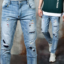 NewStylish Mens Distressed paint accent washed blue slim jeans