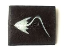 100% GENUINE STINGRAY FISH SKIN BLACK LEATHER MENS BI-FOLD WALLET STING RAY