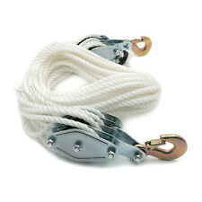 4000 Lbs2 Ton 65ft Poly Rope Hoist Pulley Wheel Block Tackle 71 Lifting Ratio