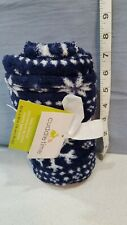 "Cuddle Time Baby Blanket 30""x30"" Soft Fleece Navy Blue Snowflakes"