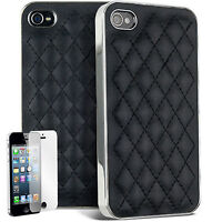 Black Leather Back case cover for iphone 4 & screen Protector