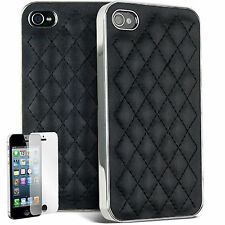 Black Leather Back case cover for iphone 4 4s & screen Protector