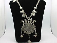 """Sterling Silver .925 Mexicana Coin Animal Leaf Custom 26"""" Necklace 122.5g #3073"""