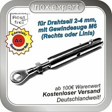 Drahtseilterminal Reling-Spanner Edelstahl V4A Gewindeauge Seilspanner Drahtseil