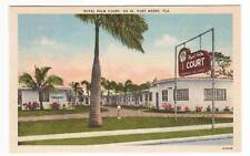 Royal Palm Court Motel Fort Myers FL linen postcard