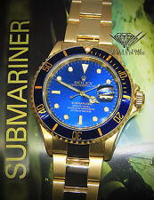 Rolex Submariner Date 18k Yellow Gold Blue Dial/Bezel Mens Dive Watch 16618 T