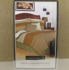 Home Trends Twin Comforter Set 3 Piece Brown Tan Green Bedding