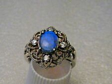 Silver Blue Opal Clear Stone Ring, Filigree,  Victorian Themed,Size 7.5, 3.03gr
