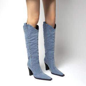 Womens Cowboy Cowgirls Mid Calf Boots Retro Ridin Denim Riding Chunky Block Heel
