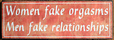 Wood Sign Women Fake Orgasms Man Cave Home Wall Hanging Plaque Funny