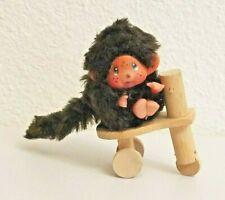 Vintage Monchichi Monkey on Wooden Tricycle Bike
