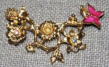 VINTAGE GORGEOUS GOLD TONE PINK ENAMEL BUTTERFLY WITH MANY FLOWERS PIN BROOCH