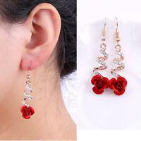Wedding/Party Crystal Red Rose Flower Dangle Drop Earrings Women Fashion 1 Pair