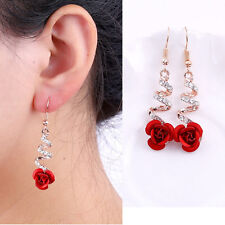 Fashion Crystal Red Rose Flower Women Dangle Drop Earrings for Wedding/Party