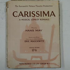 vocal score CARISSIMA hans may / eric maschwitz