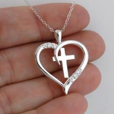 Cross in Heart Necklace - 925 Sterling Silver - CZ Faith Love Gift Pendant NEW