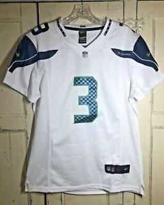 Women's NIKE ON FIELD Seattle Seahawks NFL Russell Wilson 3 White Jersey Size XL