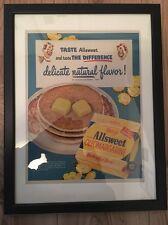 Original Vintage 1940s Retro Framed Advert (43 x 33cms) Allsweet Margarine USA