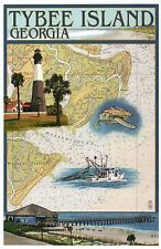 Tybee Island Georgia Nautical Chart, Lighthouse Sea Turtle - Modern Map Postcard