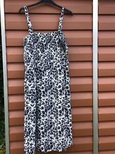 Damart summer dress Dark Blue White midi VGC