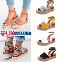 Women's Ankle Strap Flatform Wedges Shoes Espadrilles Summer Platform Sandals GP