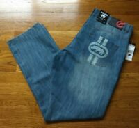 NWT $58 ECKO UNLTD. 741 ATHLETIC DENIM Men's Jeans Med Wash Sz 36W×31L Lt Blue