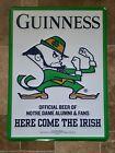 GUINNESS BEER NOTRE DAME FIGHTING IRISH FOOTBALL EMBOSSED TIN SIGN