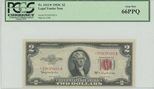 1953C $2 Legal Tender FR#1512* PCGS 66 Gem PPQ Star Note