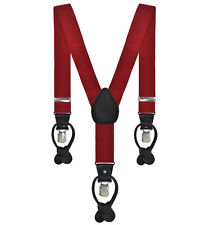 Mens Plain Dark Red Formal Suspenders/Braces with Clip & Leather Fastening 3.5CM