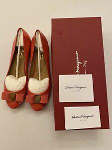 Authentic Salvatore Ferragamo Varina Ballet Flats 8.5 B Morning Rose New In Box