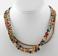Vintage ZAD Multi Strand Beaded Statement Necklace 16.25 Inch Length Multicolor